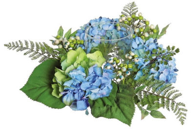 """16"""" Decorative Artificial Hydrangea and Berry Hurricane Glass Candle Holder"""""""