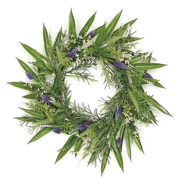 "24"" Decorative Purple Hyacinth and Yellow Fennel Seed Artificial Floral Wreath - Unlit"""