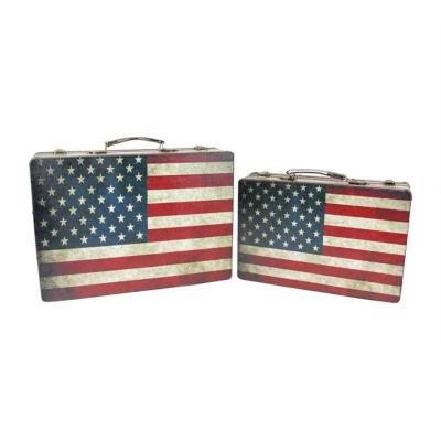 "Set of 2 Rustic American Flag Rectangular Wooden Decorative Storage Boxes 14.5-17"""