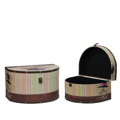 "Set of 2 Wooden Vintage-Style Decorative Hat Storage Boxes 16.75-20"""