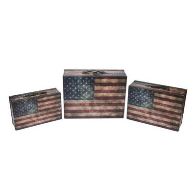 Set of 3 Rustic American Flag Decorative Wooden Storage Boxes 16""