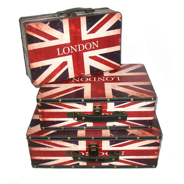 Set of 3 Rustic British Flag Decorative Wooden Storage Boxes 16""