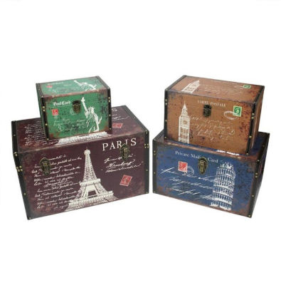 Set of 4 Vintage-Style Travel Themed Decorative Wooden Storage Boxes 23.5""