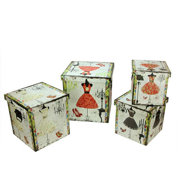 Set of 4 Wooden Vintage-Style Fashion Dresses Decorative Storage Boxes 8-14""
