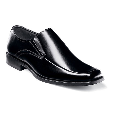 Men's 1950s Shoes Styles- Classics to Saddles to Rockabilly Stacy Adams Cassidy Mens Moc-Toe Slip-On Leather Dress Shoes 12 Medium Black $59.99 AT vintagedancer.com