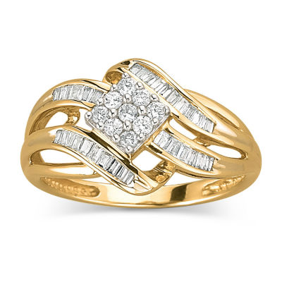 1/3 CT. T.W. Diamond 10K Gold Swirl Cocktail Ring