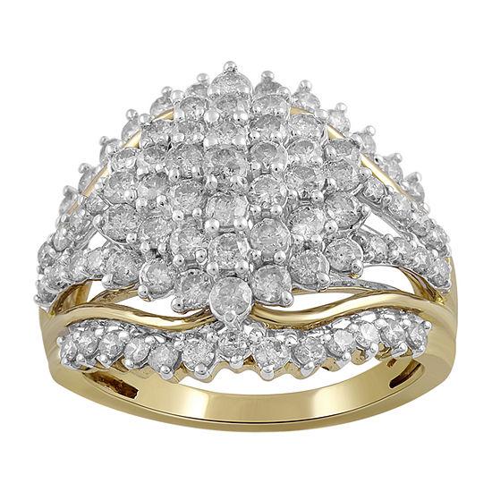 Womens 2 CT. T.W. Genuine White Diamond 10K Gold Cocktail Ring