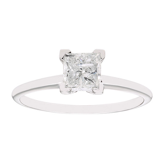 Womens 1 CT. T.W. Genuine White Diamond 14K White Gold Solitaire Engagement Ring