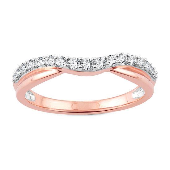 1/4 CT. T.W. Genuine White Diamond 10K Rose Gold Wedding Band
