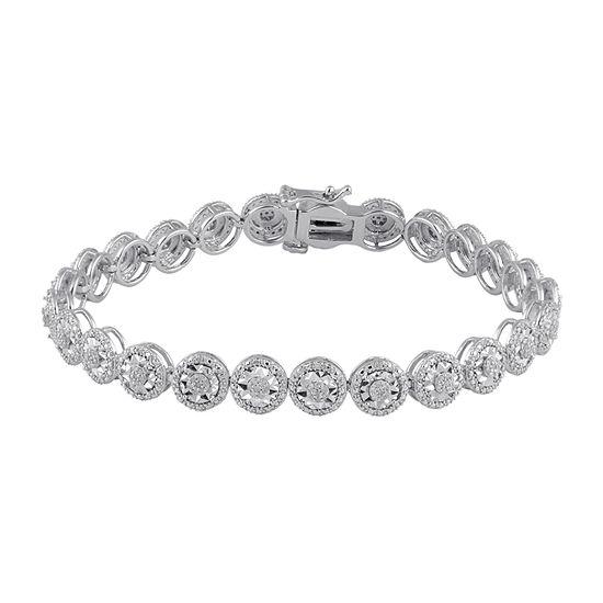 1/2 CT. T.W. Genuine White Diamond Sterling Silver Tennis Bracelet