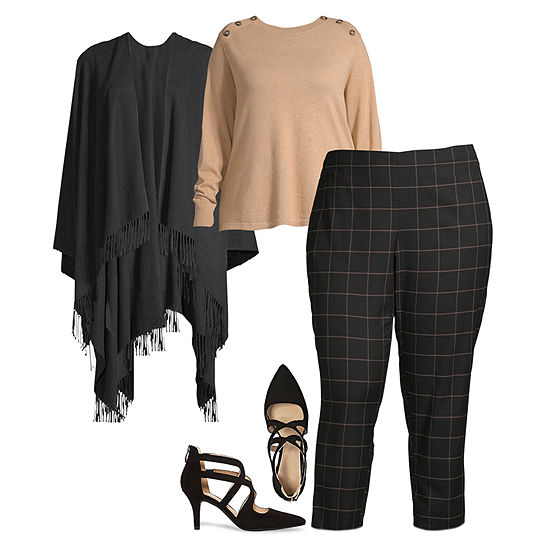 Plus Fall Layering: Liz Sweater, Wrap and Pull-On Pants