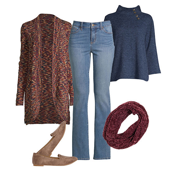 Fall Layering: SJB Mock Neck Top, Cardigan and Bootcut Jean