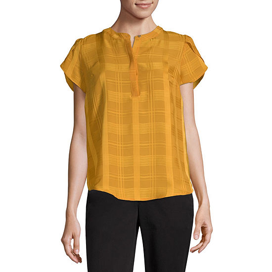 Liz Claiborne Womens Henley Neck Short Sleeve Henley Shirt