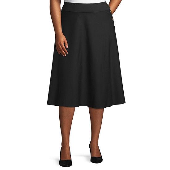 Worthington Womens Button Boot Skirt - Plus