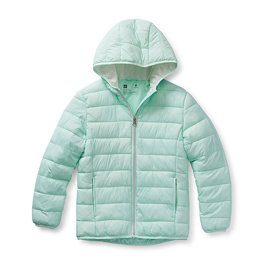 Xersion-Big - Girls Plus Hooded Packable Midweight Puffer Jacket
