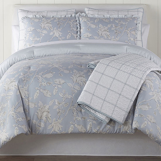 Home Expressions Hampstead 6-pc. Floral Midweight Reversible Comforter Set