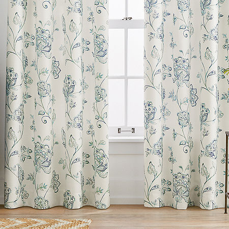 Liz Claiborne Quinn Jacobean Light-Filtering Grommet-Top Single Curtain Panel, One Size , Blue