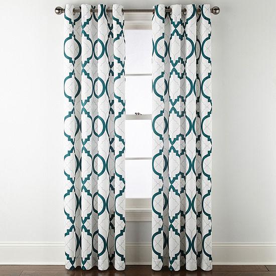 Liz Claiborne Quinn Geo Light-Filtering Grommet-Top Single Curtain Panel