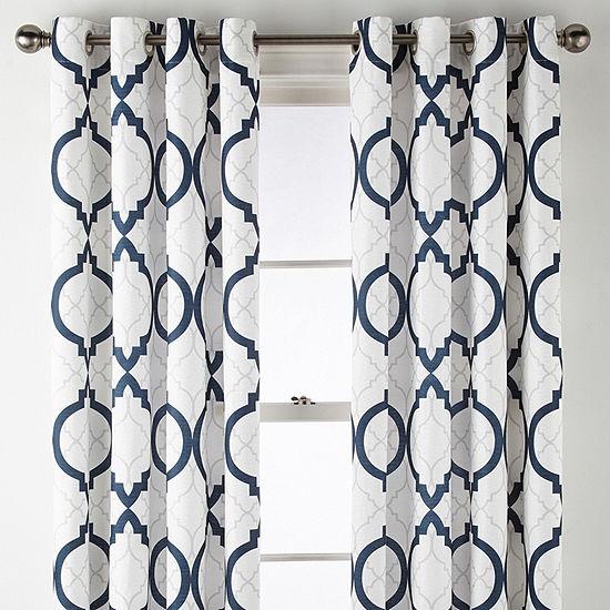 Liz Claiborne Quinn Geo Room-Darkening Grommet Top Single Curtain Panel