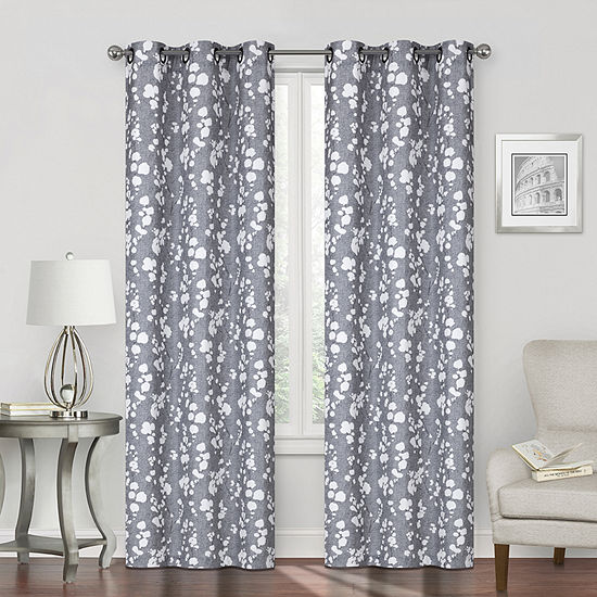 Regal Home Sterling Print Energy Saving Blackout Grommet-Top Single Curtain Panel