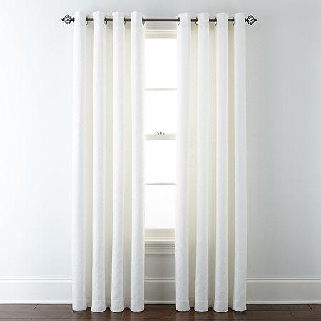 Liz Claiborne Quinn Ltc Energy Saving Light-Filtering Grommet-Top Single Curtain Panel, One Size , White