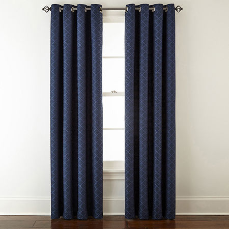 Liz Claiborne Quinn Ltc Energy Saving Light-Filtering Grommet-Top Single Curtain Panel, One Size , Blue