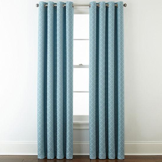 Liz Claiborne Quinn Lattice Energy Saving Light-Filtering Grommet-Top Single Curtain Panel