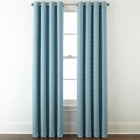 Liz Claiborne Quinn Ltc Energy Saving Light-Filtering Grommet-Top Single Curtain Panel, One Size , Blue