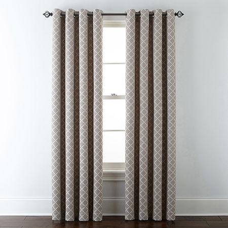 Liz Claiborne Quinn Ltc Energy Saving Light-Filtering Grommet-Top Single Curtain Panel, One Size , Beige