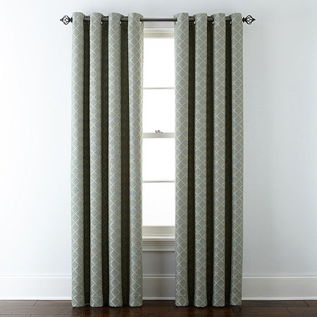 Liz Claiborne Quinn Lattice Energy Saving Light-Filtering Grommet-Top Single Curtain Panel, One Size , Green