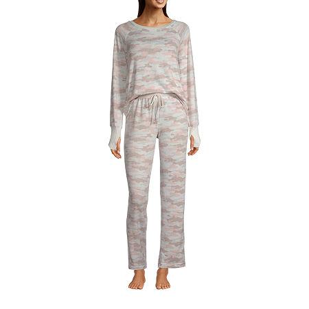 Rene Rofe Womens Pant Pajama Set 2-pc. Long Sleeve, Small , Gray