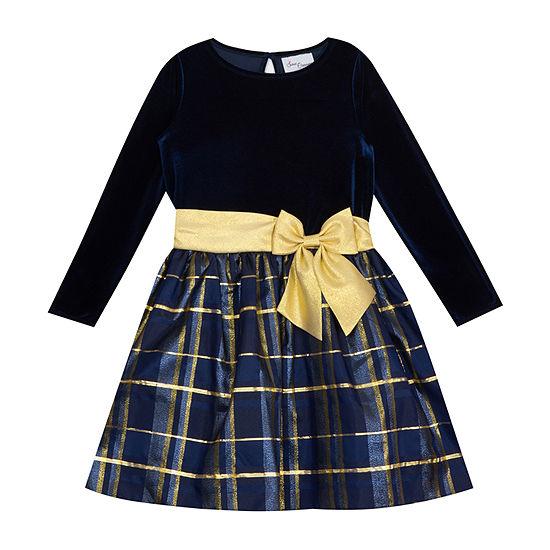 Sweet Charmers Little & Big Girls Long Sleeve Midi Party Dress
