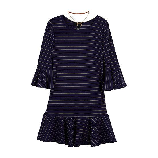 Amy Byer Big Girls 3/4 Sleeve Bell Sleeve Shift Dress