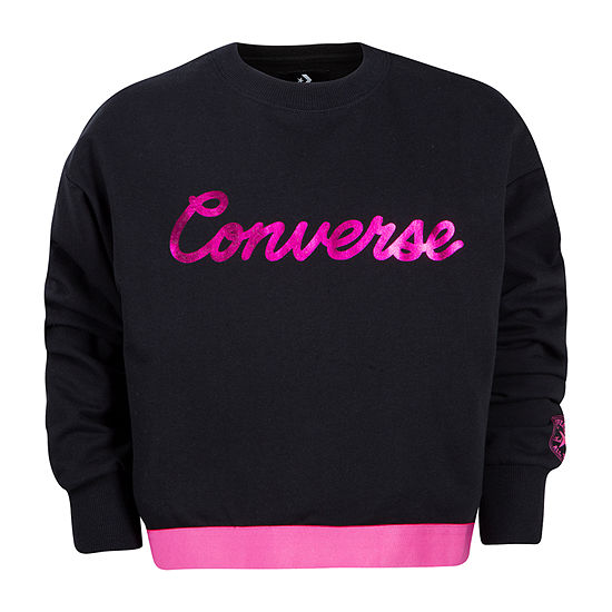 Converse Big Girls Crew Neck Long Sleeve Sweatshirt