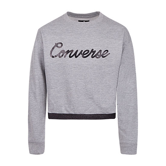 Converse Big Girls Crew Neck Long Sleeve Sweatshirt
