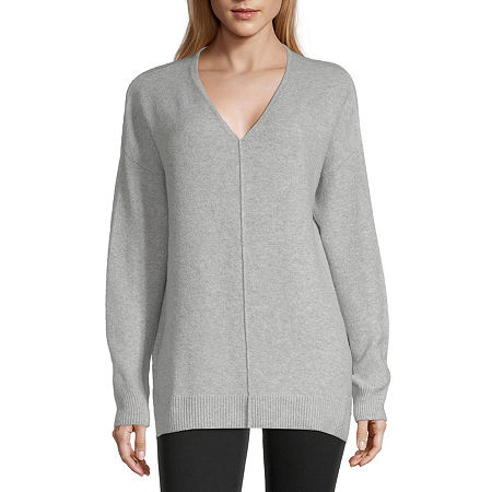 a.n.a Womens V Neck Long Sleeve Pullover Sweater, Small , Gray