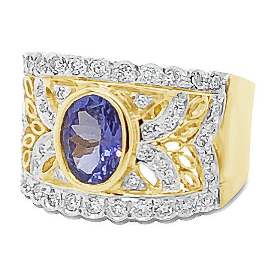 Levian Corp Le Vian Womens 1/2 CT. T.W. Genuine Blue Tanzanite 18K Gold Cocktail Ring
