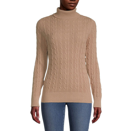 St. John's Bay-Tall Cable Womens Turtleneck Long Sleeve Pullover Sweater