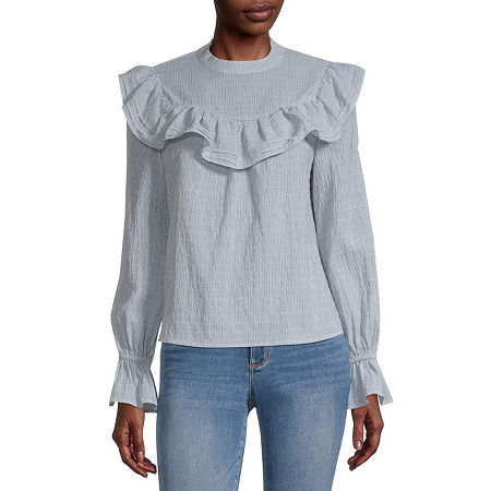 a.n.a Womens High Neck Long Sleeve Blouse, X-large , Blue