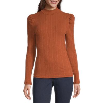 a.n.a. Womens Mock Neck Long Sleeve T-Shirt
