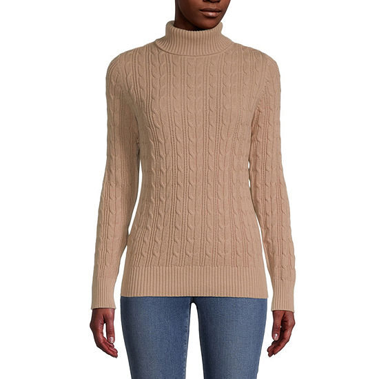 St. John's Bay Cable Womens Turtleneck Long Sleeve Pullover Sweater