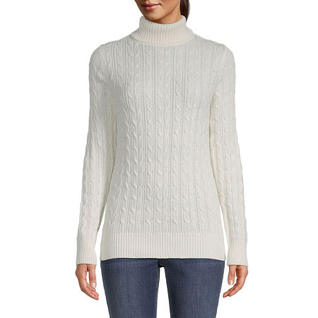 St. John's Bay Cable Womens Turtleneck Long Sleeve Pullover Sweater, Xx-large , White
