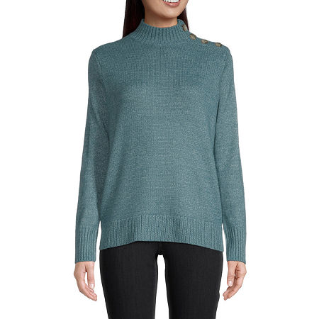 St. John's Bay Womens Mock Neck Long Sleeve Pullover Sweater, Large , Blue - 84505020281
