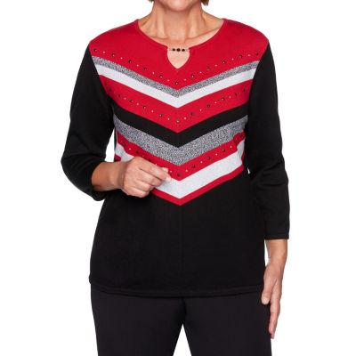 Alfred Dunner Knightsbridge Station Womens Keyhole Neck 3/4 Sleeve Layered Sweaters