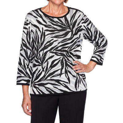 Alfred Dunner Knightsbridge Station Womens Round Neck 3/4 Sleeve Animal Pullover Sweater