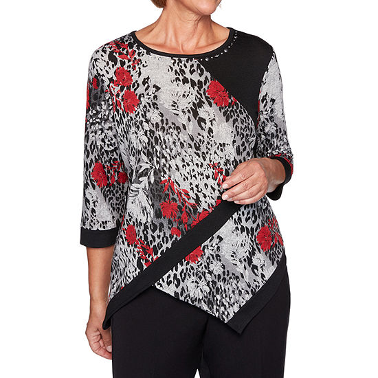 Alfred Dunner Knightsbridge Station Womens Round Neck 3/4 Sleeve Knit Embellished Blouse