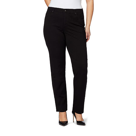 Gloria Vanderbilt Amanda Womens High Rise Straight Flat Front Pant, 16w Short , Black