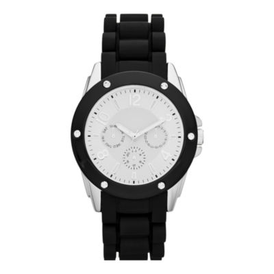 Womens Crystal-Accent Faux Chronograph Watch