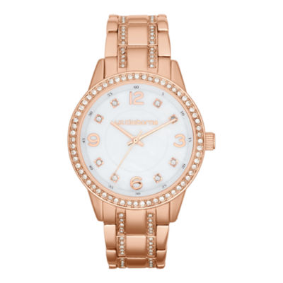 Liz Claiborne® Womens Rose-Tone Crystal Large-Scale Watch