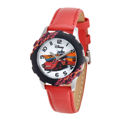 Disney Cars Red Leather Strap Watch